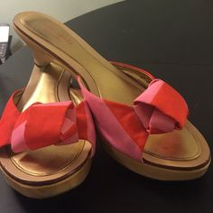 Kate Spade pink and red mules Gently worn. If you bundle these and an mk, I'll give you an awesome deal! kate spade Shoes Mules & Clogs
