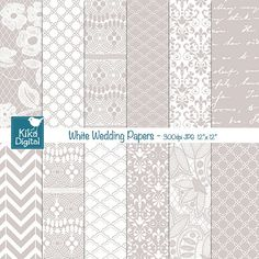 White Wedding Digital Papers - Lace Wedding Papers - Scrapbook, card design, invitations, paper crafts - Instant Download