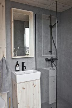 For the Love of Wooden Cabins Slow Design, Interior And Exterior, Interior Design, Concrete Bathroom, Wooden Cabins, Compact Living, Roomspiration, Cozy Cabin, Raw Wood
