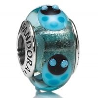 PANDORA 790654 Blue Ladybugs Murano Glass Beads