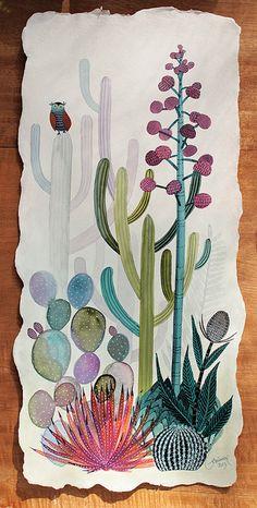 Cactus & owl art