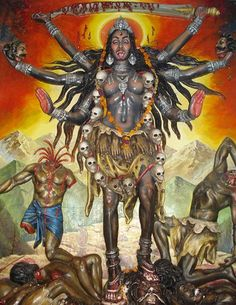 Kali is also seen as the embodiment of time, relentless in pursuit and sparing none. Time is dark and foreboding, yet if embraced, becomes a source of comfort and peace.  To embrace the Mother in this form is to know that peace and death loses its power over you.