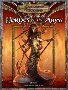 Fiendish Codex I: Hordes of the Abyss (3.5) | Book cover and interior art for Dungeons and Dragons 3.0 and 3.5 - Dungeons & Dragons, D&D, DND, 3rd Edition, 3rd Ed., 3.0, 3.5, 3.x, 3E, d20, fantasy, Roleplaying Game, Role Playing Game, RPG, Open Game License, OGL, Wizards of the Coast, WotC, TSR Inc. | Create your own roleplaying game books w/ RPG Bard: www.rpgbard.com | Not Trusty Sword art: click artwork for source