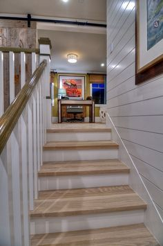 Beautifully designed Cape Cod inspired home on Balboa Island, California Cottage Staircase, Cottage Hallway, Wood Floor Design, Blonde Wood, Patio Roof, Coastal Homes, Beach Cottages, Inspired Homes, Stairways