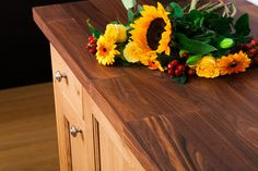 Our Deluxe Black American Walnut worktops come with a square edge as standard, but can be customised to feature softer edges, cut-outs or almost any other customisation via our Wood Worktop Cutting Service. Oak Kitchen Worktops, Walnut Worktops, Walnut Kitchen, American Walnut, Work Surface, Work Tops, Oak Kitchens, Woodworking, Cut Outs