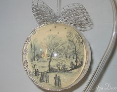 Decoupage Ball Christmas Ornament