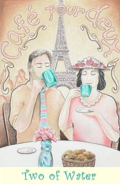 Two of Water from the Coffee Tarot http://Tarot.Coffee
