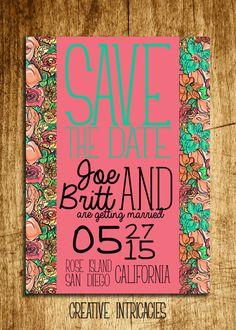 Aqua & Pink Floral Save the Date  Custom by Creativeintricacies