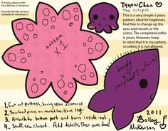 Octopus Pattern by Kaos-Melody You can find this pin on deviant art. Cute Crafts, Crafts To Do, Felt Crafts, Arts And Crafts, Paper Crafts, Diy Crafts, Sewing Toys, Sewing Clothes, Sewing Crafts