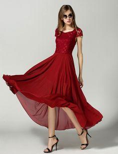 Red Short Sleeve Lace Bohemia Chiffon Dress - Sheinside.com