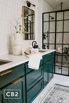 Green Paint Colors 2020 - Interiors By Color. Benjamin Moore Essex Green paint color Green Paint Colors 2020 - Interiors By Color. Deco Cool, Green Cabinets, Bathroom Renos, Cabinet Colors, Bathroom Inspiration, Cool Bathroom Ideas, Best Bathroom Paint Colors, Colorful Bathroom, Bathroom Inspo