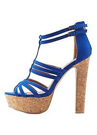 Caged Cork Platform Sandals