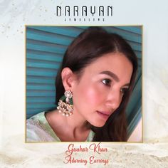 Gauhar Khan looks ravishing while redefining beauty in our exquisite Jadau earring.  #JadauByNarayanJewellers #JadauByNJ #NarayanJewellers #NJ Gold Jewellery, Diamond Earrings, Jewels, Celebrities, Gold Jewelry, Celebs, Bijoux, Gemstones, Jewerly