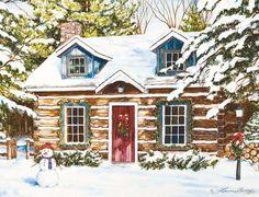 Log Cabin Holiday Christmas Cards , 1004655   Lang