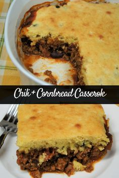 This Chili + Cornbread Casserole is easy to make and delicious. The perfect comfort food to say goodbye to summer and get you in the mood for fall.