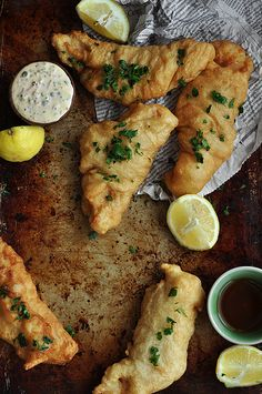 Cilantro Lime Chicken Beer Battered Fish and Chips w/ Spicy Remoulade Olive-Oil-Poached Cherry Tomato Sauce Creamy Bas. Fish Recipes, Seafood Recipes, Dinner Recipes, Cooking Recipes, Healthy Recipes, Fish And Chips, Enjoy Your Meal, Cherry Tomato Sauce, Beer Battered Fish