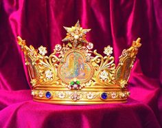 A crown in the cathedral of Perpignan, France. It was commissioned in 1904 by the then bishop to celebrate the 50th anniversary of the dogma of the Immaculate Conception.