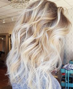 """Full foil with dark blonde roots and platinum ends-- stunning """"ice blonde"""" by Mannie Mak."""
