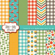 fall fox themed digital scrapbook papers by lane + may on Etsy, $7.00