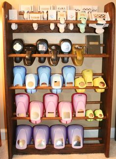 Shoe rack for organizing craft punches. Think this will fit? Craft Room Organisation, Scrapbook Room Organization, Craft Room Storage, Organization Ideas, Storage Ideas, Punch Storage, Card Storage, Craft Room Decor, Craft Rooms