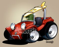 Would make a great hooked rug, wouldn't it Debbie? Ferdinand Porsche, Manx Dune Buggy, Volkswagen, Beach Buggy, Garage Art, Car Illustration, Vw Cars, Unique Cars, Car Drawings
