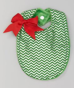 Another great find on #zulily! Green Metallic Chevron Bow Bib by Bananas Boutique #zulilyfinds