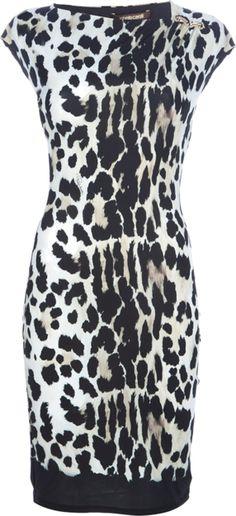 ROBERTO CAVALLI fitted animal print dress
