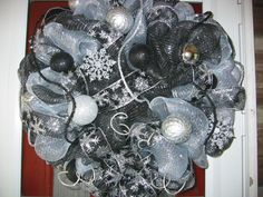 Deco mesh black and silver Christmas wreath