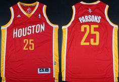 Houston Rockets #25 Chandler Parsons Revolution 30 Swingman Red With Gold Jersey