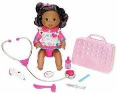 Little Mommy Doctor Mommy African-American Doll by Mattel. $43.00. Hear her heartbeat and check for a fever with the stethoscope and thermometer. Check on her with the included medical instruments and she will interact with all sorts of phrases. This little girl is not feeling well, but her mommy can make her feel all better. Use the reflex hammer on her knee (that really kicks) and she will giggle. Comes with interactive doll, tons of medical instruments and doctors bag and...