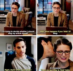 """I'm trying to decide whether I should blog my article myself"" - Kara and Mon-El #Supergirl"