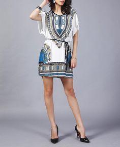 Vestido estampa étnica manga curta