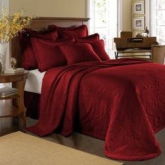 King Charles Matelasse Scarlet Bedspread, 100% Cotton - Bed Bath & Beyond. That looks so comfy. Throw in some gold and brown pillows and its perfect