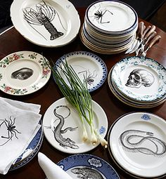 RE Vintage Plates with skull, eye, snake, scorpion beetle, lizard or lobster