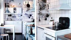 Hvidt køkken med vægopbevaring, HÄGGEBY fronter og LAGAN hvidevarer