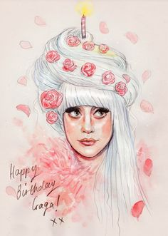 Happy 28th Birthday, Gaga! (Only had an hour to spare to work on something today, but I kinda like the roughness!)