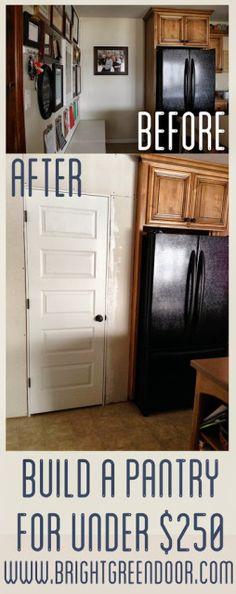 How To Build A Pantry For Under $250 Diy Kitchen, Kitchen Pantries, Kitchen  Storage