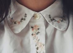 blouse collar flowers floral broderies bottoms white kitchie vintage cute shirt shirt button up embroidered floral blouse hipster colar white blouse bohemian nature plants flowers pretty collared shirts intricate button top leaves