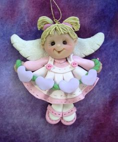 polymer clay angel | Polymer Clay Christmas Angel Ornament Clayqts Etsy Pictures