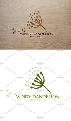 Windy Dandelion Premade Nature Logo. Wedding Card Templates