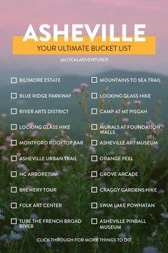 The Ultimate Asheville Bucket List + Click through to see 101 Things to Do in Asheville NC // Local Adventurer northcarolina asheville usa traveltips bucketlist 187743878201704475 Oh The Places You'll Go, Cool Places To Visit, Places To Travel, Travel Destinations, Ashville Nc, Stuff To Do, Things To Do, Asheville North Carolina, Downtown Asheville Nc