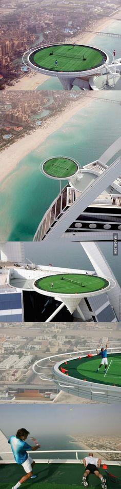 World's Highest Tennis Court in Dubai.