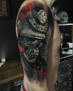 Samurai skull tattoo by Eliot Kohek
