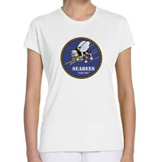 Officially Licensed U.S. Navy Seabees Ladies White T-Shirt now available! Show your Navy Service pride with this ladies white t-shirt Performance Short Sleeve Shirt. This performance shirt features 100% Polyester antimicrobial, moisture wicking fabric that will keep you cool, dry, and comfortable. THIS IS A PERFORMANCE FABRIC SHIRT, NOT COTTON. Designed, Printed & Sublimated in the USA -Fabric Imported.
