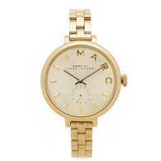 Marc by Marc Jacobs Skinny Baker Watch ($230) ❤ liked on Polyvore featuring jewelry, watches, gold, marc by marc jacobs, gold jewelry, snap jewelry, gold initial jewelry and letter jewelry