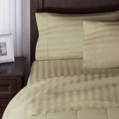 Better Homes and Gardens 300 Thread Count Wrinkle Free Damask Stripe Sheet Set, Beige