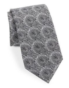 Vince Camuto Abstract Floral Silk-Blend Tie Men's Black