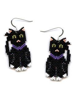 Black Cat in Delica Beaded Earrings by maddiethekat, via Flickr