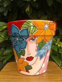 macetas pintadas a mano n20 Paint Garden Pots, Painted Plant Pots, Painted Flower Pots, Garden Art, Garden Paths, Flower Pot Art, Flower Pot Design, Flower Pot Crafts, Clay Pot Projects