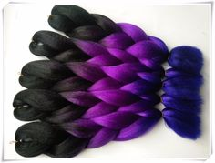 Find More Bulk Hair Information about Free shipping ombre braiding hair 3 toned colour Kanekalon jumbo braiding hair  synthetic braiding hair Black+Purple+Blue,High Quality Bulk Hair from The Cleaning Air on Aliexpress.com